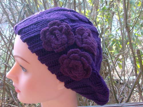 Triple side flower beret purple