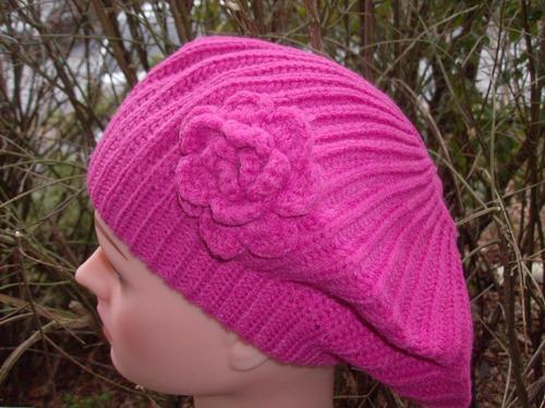 Single flower beret  pink