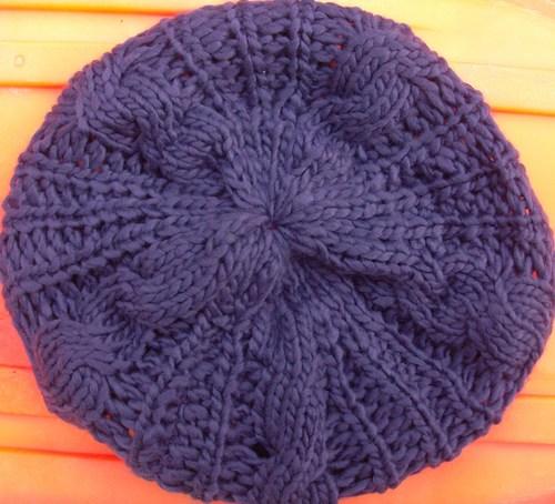 Chunky beanie beret purple