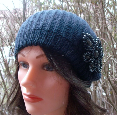 Chic beret navy blue double layer