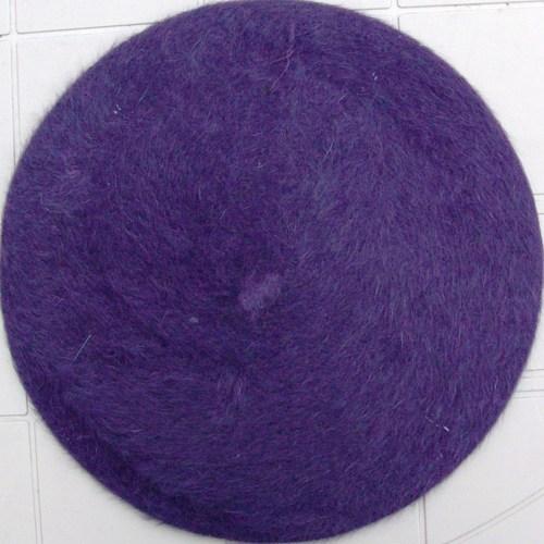 Fur beret purple