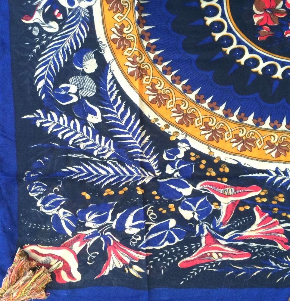 Royal blue soft tichel with floral pattern