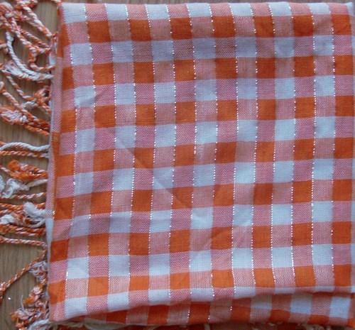 Summer colors plaid in orange tichel