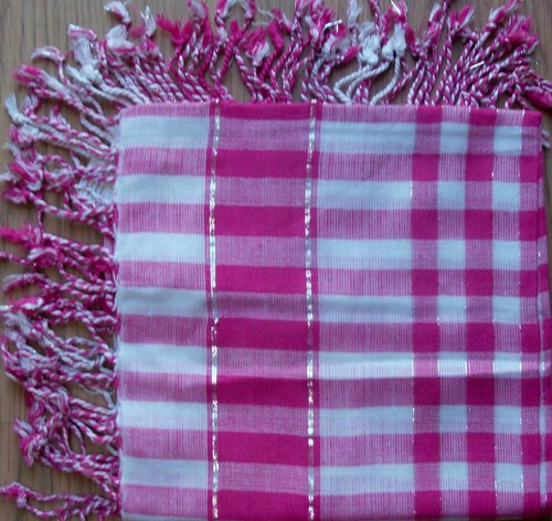 Summer colors plaid in pink tichel