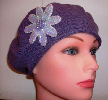 "Purple ""summer style"" cotton  beret"