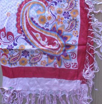 Bright soft tichel red and pink