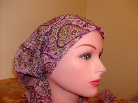 Fancy light pink pre tied tichel bandana