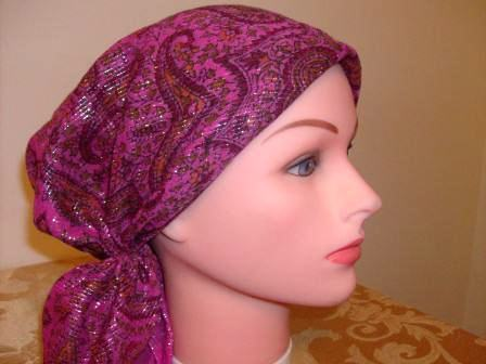 Fancy dark pink pre tied tichel bandana