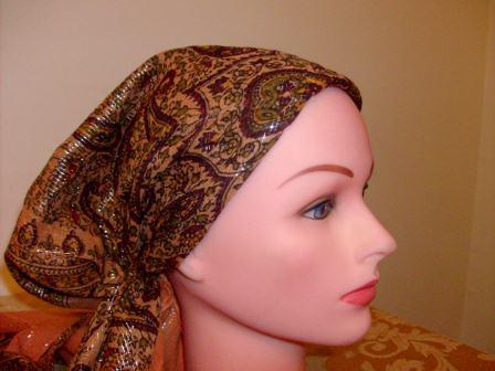 Fancy light orange pre tied tichel bandana