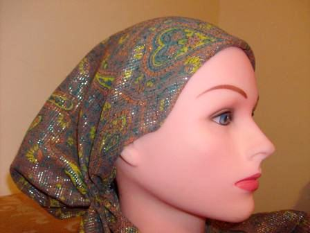 Fancy light brown pre tied tichel bandana