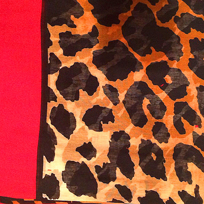 Red animal print pretty Turkish headscarve