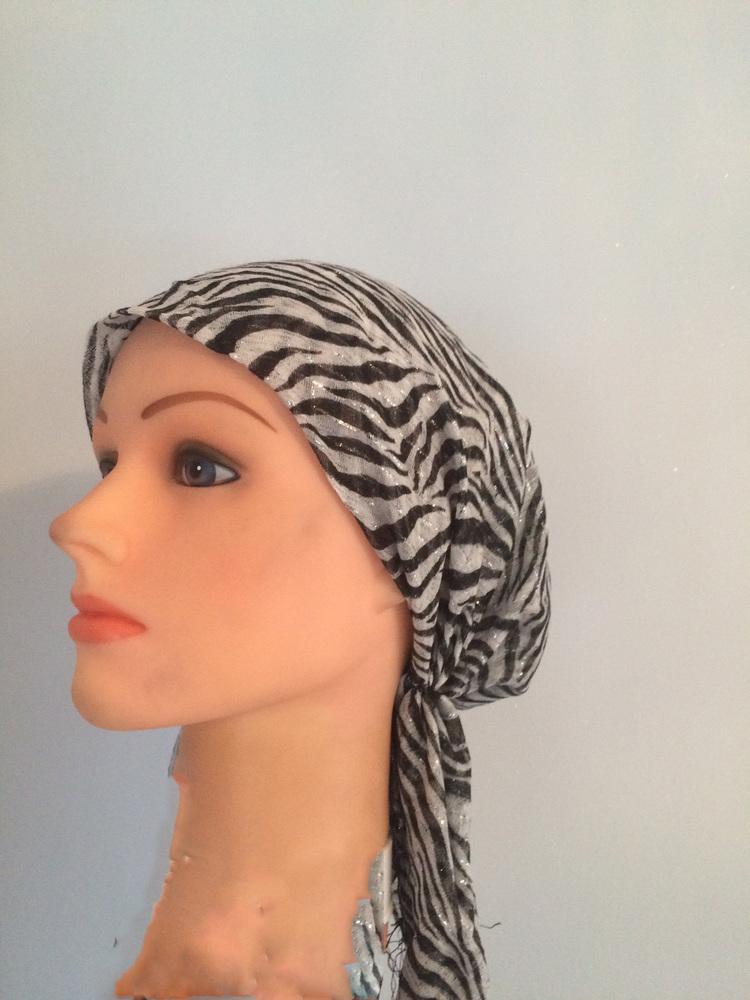 Striped animal pattern lurex pre tied tichel