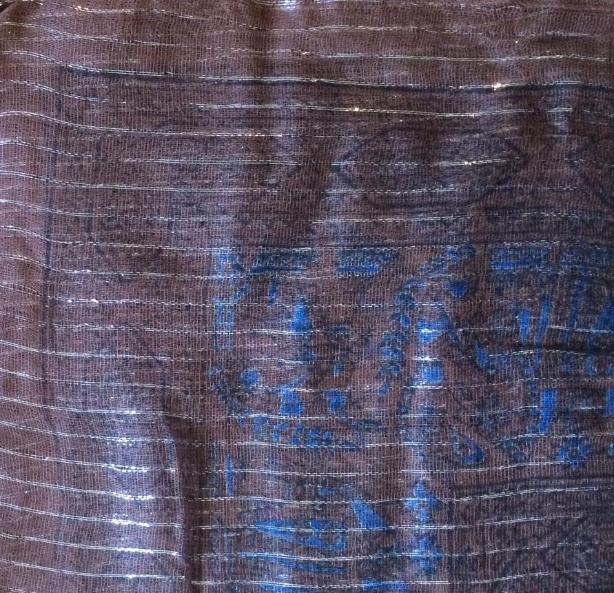 Brown lurex tichel with blue pattern