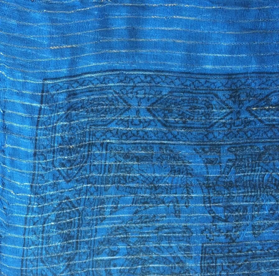 Denim lurex tichel with blue pattern