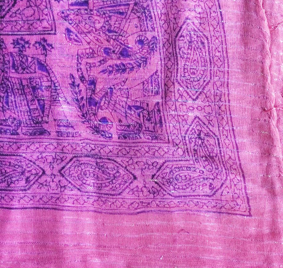 Medium pink lurex tichel with blue pattern
