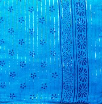 Dotted pattern tichel beach blue