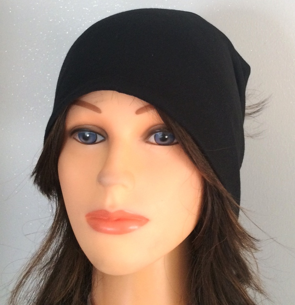Black Cotton Beanie With fur