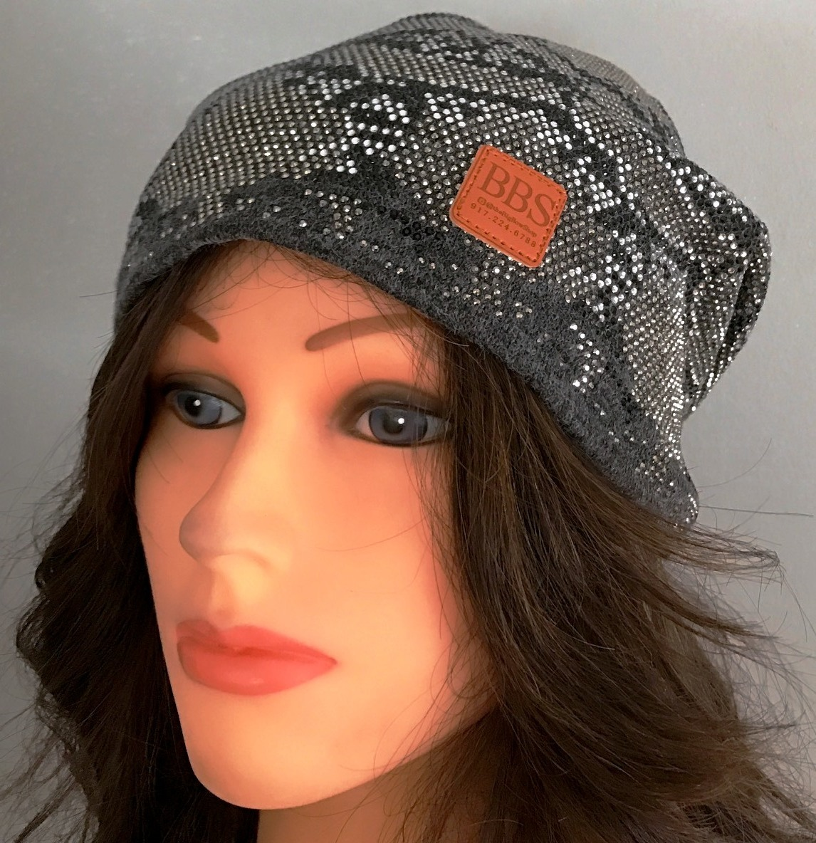 Gray beanie with snakeskin pattern