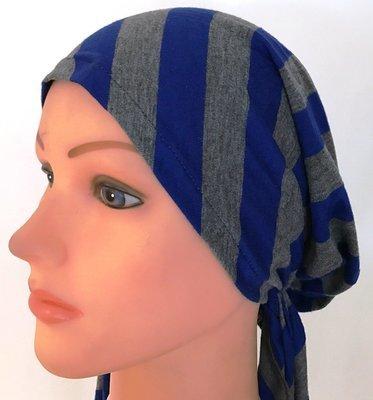 Gray & blue striped pre-tied tichel