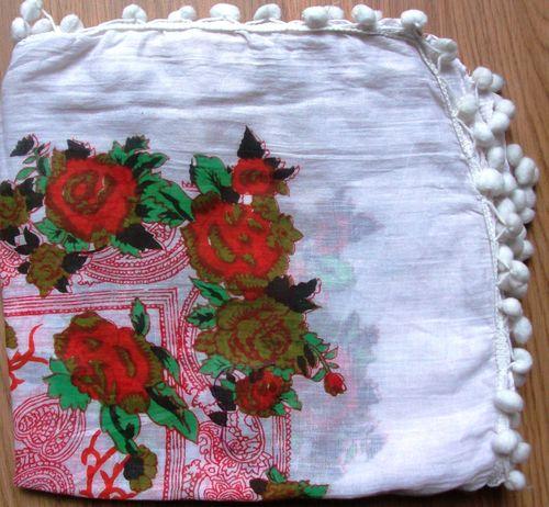 White with red flowers pom pom snazzy tichel