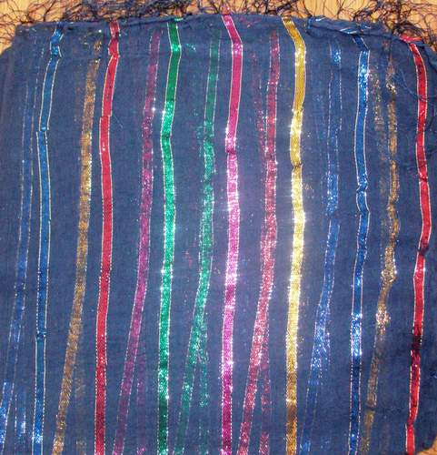 Bright blue basic tichel with thick stripes