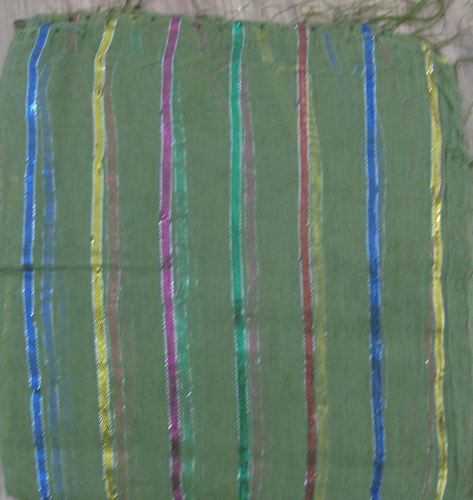 Pale green basic tichel with thick stripes