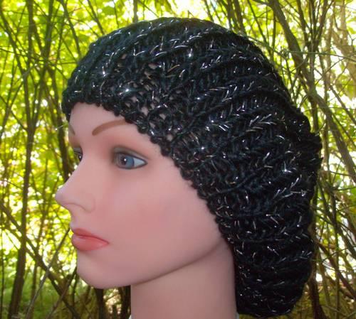 silver thread beret black