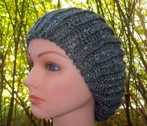 silver thread beret gray