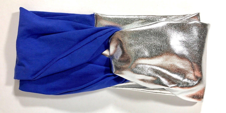 Royal blue/silver pleather headband