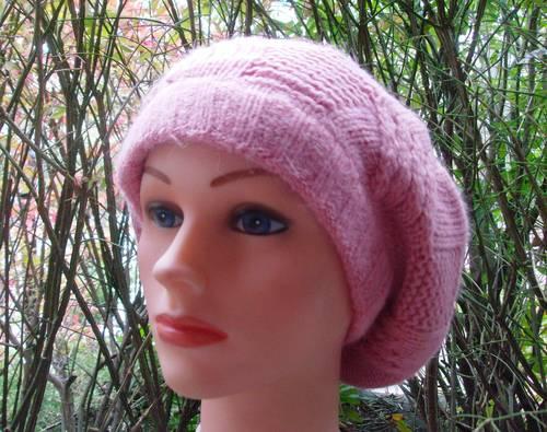 NY style angora beret dusty pink