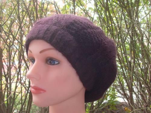 NY style angora beret brown