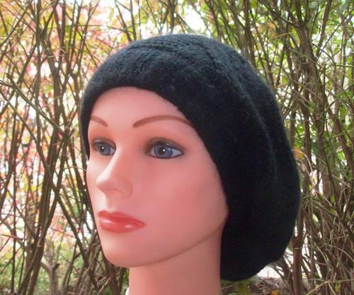 NY style angora beret black
