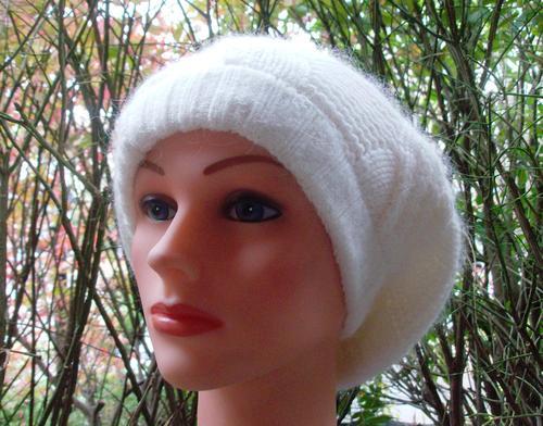 NY style angora beret off white