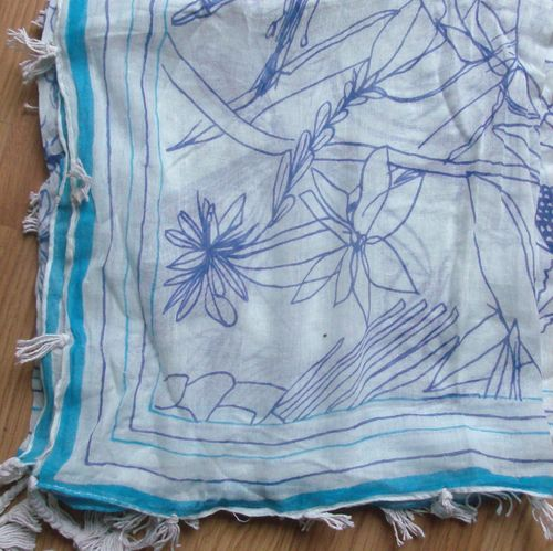 Baby soft cotton tichel - white  with blue