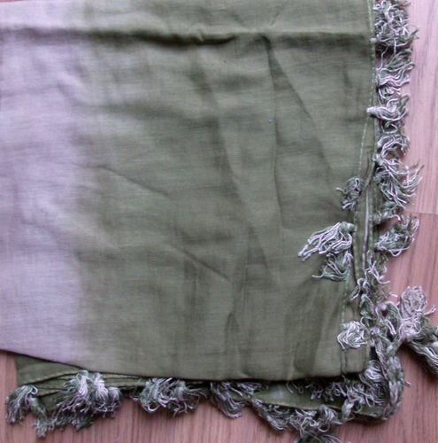 Baby soft cotton tichel - two tone green and beige