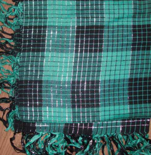 Bright green Fall plaid tichel