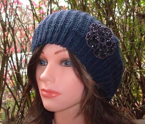 Chic beret navy blue single layer