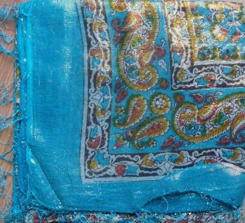 Aqua blue shimmering tichel
