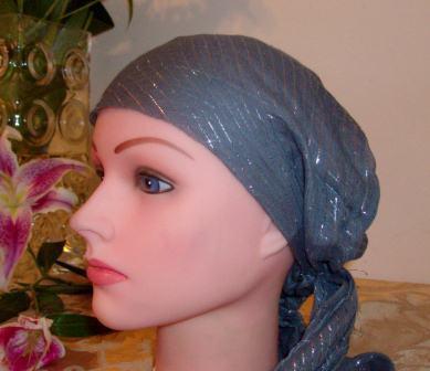 Charcoal gray lurex pre tied tichel