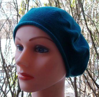 Cotton beret  turquoise blue medium