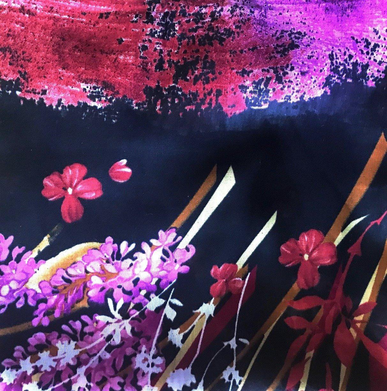 Black  background floral Turkish headscarve