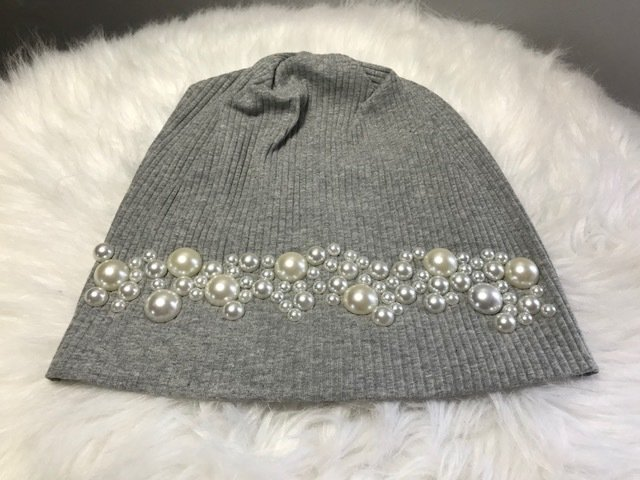 Ribbed cotton beanies w/pearls