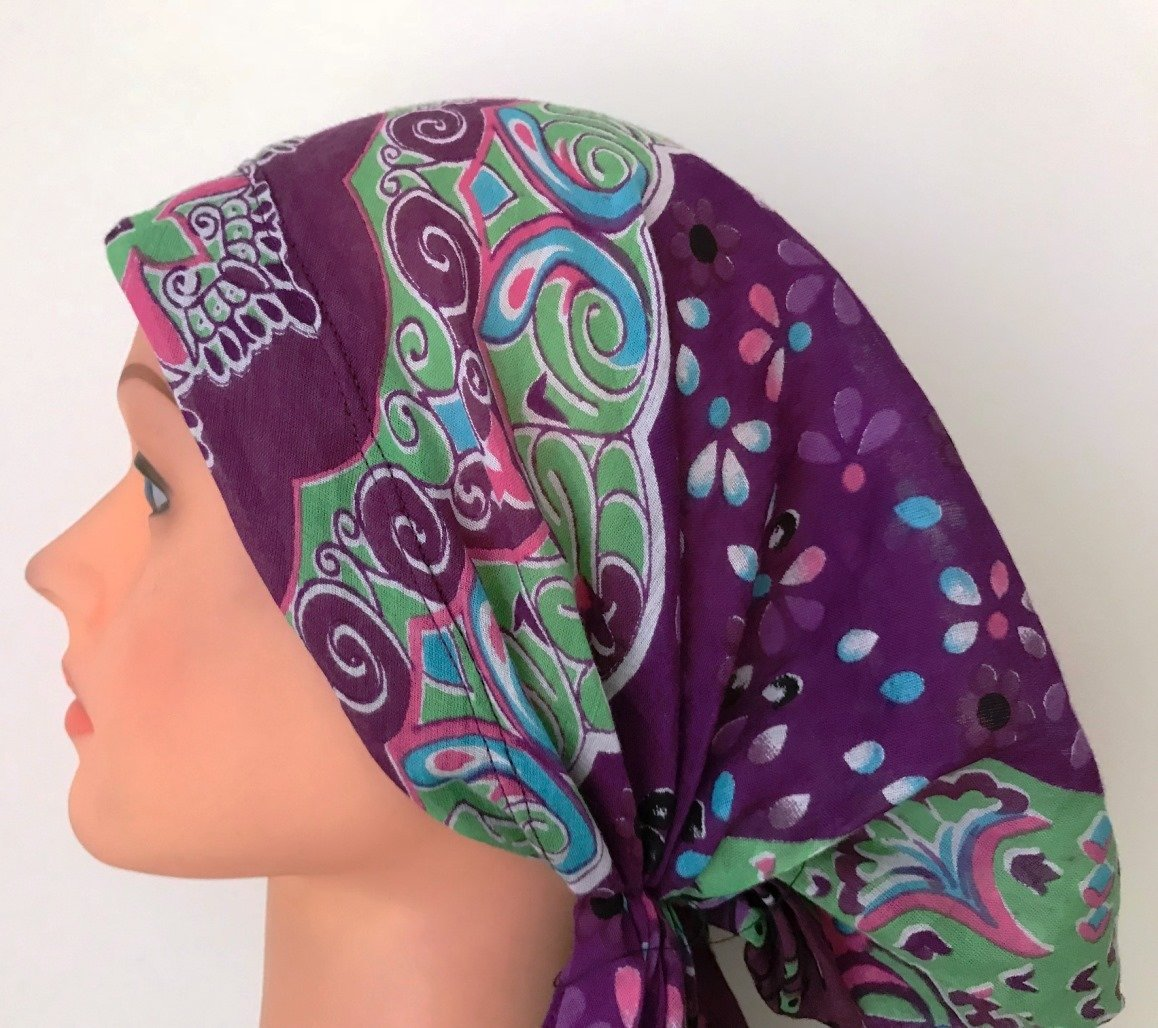Pre tied tichel purple patterned