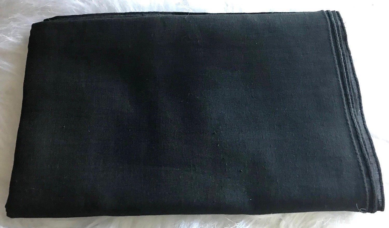 Black solid color cotton tichel headscarve