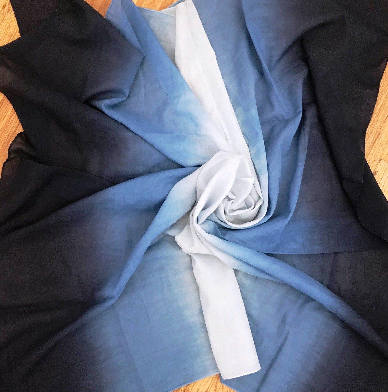 Navy cotton ombre' tichel