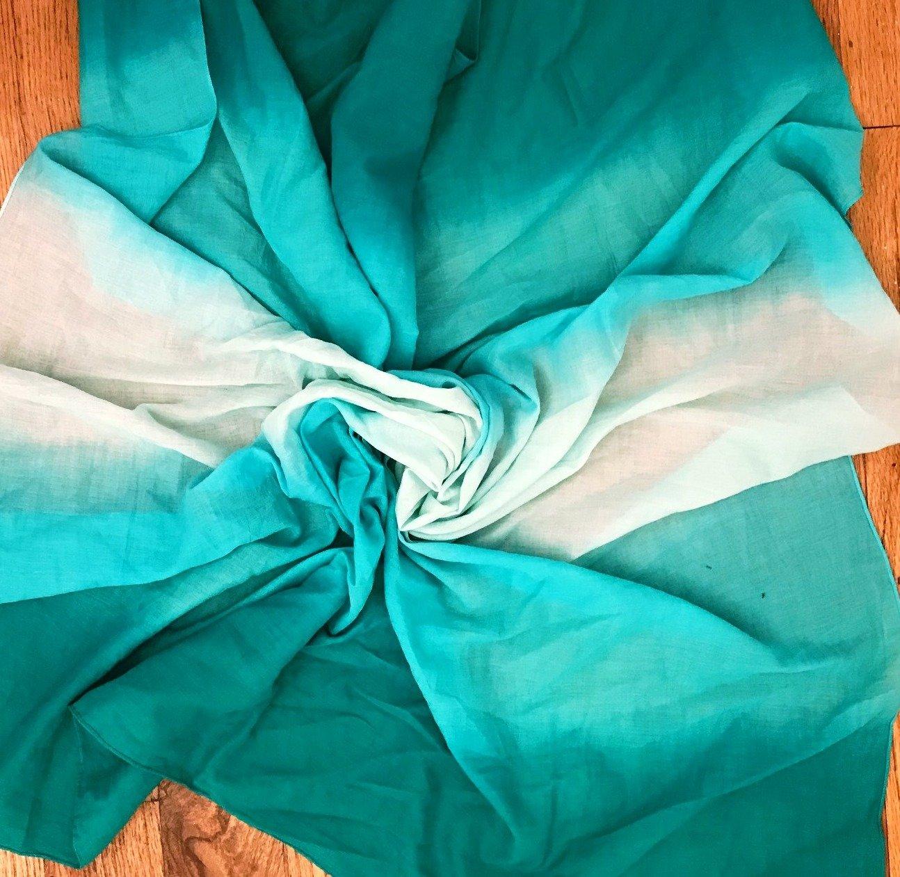 Sea green cotton ombre' tichel