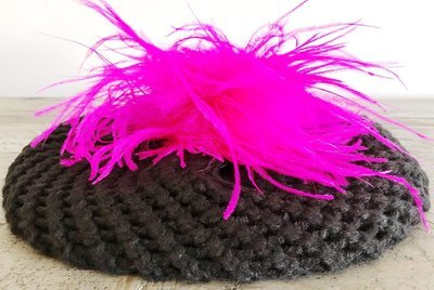 Chunky black beret w/ostrich fur (color of your choice)