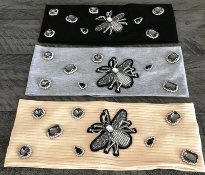 Cotton w/bee applique flat  headbands
