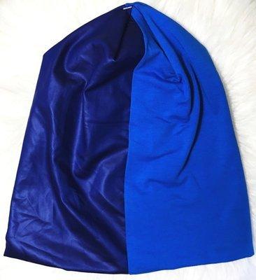 Blue pleather/cotton  beanie