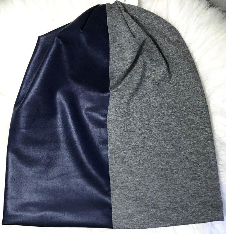 Blue pleather/gray cotton  beanie